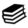 Black and white icon of a stack of books